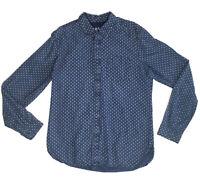 GAP 1969 Indigo Blue Denim Dot Diamond Button Down Long Sleeve Mens Shirt M 1306