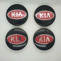 4x Kia 58mm Black & red Wheel Hub center caps Fits Rio Soul Sportage Sorento