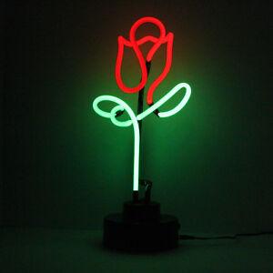 Red Rose Neon Sign Love Gift Real Glass Handmade Light Sculpture Romantic Lamp