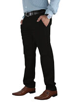 Mens Stretch Chino Trouser Cotton Slim Fit Jeans Khakis Casual Spandex Pants Black 34 30