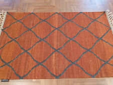 CASBAH MOROCCAN RED GREY ZIGZAG HAND KNOTTED WOOL MODERN FLOOR RUG 160x230cm