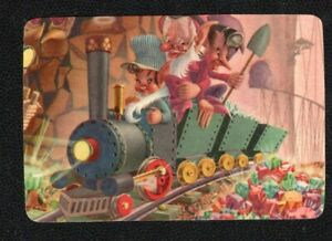 Swap Card Genuine US/ American Litho Blank Back Funny Elves Driving a Train.