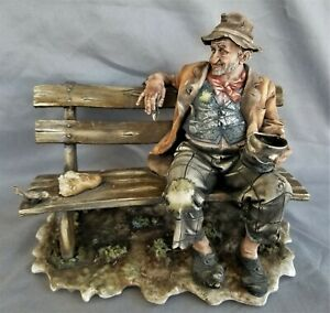 "Vintage 10"" Capodimonte Figurine Man on Bench Feeding Birds Hobo Matte Italy"