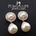 18K Rose Gold GP Double Pearl Dangle Stud Earrings W/ Genuine SWAROVSKI Crystals