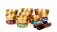Bermoni Tibetan Set of 7 Meditation Singing Bowl for Healing Prayer,Yoga