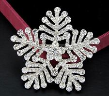 LARGE CLEAR DIAMANTE RHINESTONE CRYSTAL SNOWFLAKE  PARTY  BROOCH