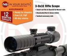3-9x32 Rifle scope with tactical rails / Gun scope fits Dovetail & Weaver rails