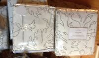 Pottery Barn Set 2 Mum Drapes Gray 50x 84L Chrysanthemum Curtain Flower Blackout