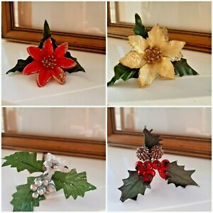 Christmas Flowers, sprays,Poinsettia.Cones - Decorations,Tables,Cakes,Garlands