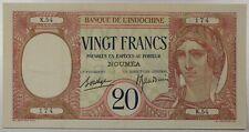 New Caledonia / Noumea 20 Francs, 1926 P-37b Indochina...VF+...EPQ!