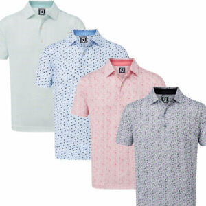 FootJoy Lisle Daisy Print Mens Golf Polo Shirt