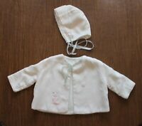 Vintage Baby's Hollywood Needlecraft White, Pink, Blue Jacket and Matching Bonne