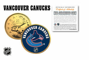 VANCOUVER CANUCKS NHL Hockey 24K Gold Plated Canadian Quarter Coin * LICENSED *