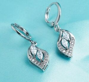 Stunning zirconia leaf drop style 18k white gold plated earings *NEW*