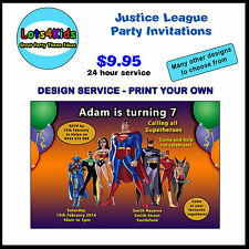 JUSTICE LEAGUE SUPERHERO PERSONALISED BIRTHDAY PARTY INVITATIONS PRINT YOUR OWN