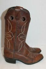 Women's~BROWN~Leather~WESTERN~Cowboy~COW GIRL~Boots~MID CALF~5 M~USA~NICE!