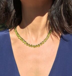 Apple Green Peridot Multi-Faceted Briolette 14K Yellow Gold Vintage Necklace