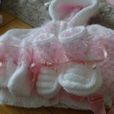 Hand Knitted Baby Girl's Hooded Jacket, Hat, Mitts and Bootees 3-6 months