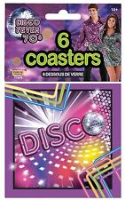 70s Party 8 Disco Fever Glitter Mirror Ball Dance Drinks Coasters Tableware Set
