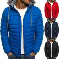 Jacket Zip  Coat Outwear Quilted Bubble Mens Hooded Winter Down Puffer Padded
