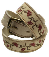 """Las Flores"" 100% Argentine Embroidered Leather Polo Belt - Rawhide"