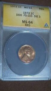 1972 DDO FS-103 Die 3 ANACS MS64 Red SEE PICS Lincoln Cent Error Fast Shipping