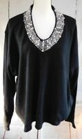 Salon Studio Womens  Plus Size 4X Black With Beading Knit Long Sleeve Sweater