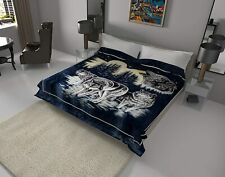 Solaron Original Pack of Wolves Korean Mink Soft Plush King Size Blanket Blue