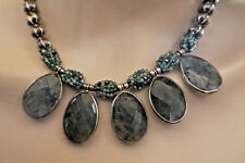 """925 MOSS AGATE DROPS NECKLACE 17-18"""", 88.6 TOTAL GRAMS"""
