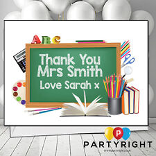 Personalised Thank You Teacher School Leaving New Term School Chalkboard Card