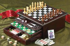 Deluxe Wooden Chess Checker Backgammon Drawer 15 in 1 Classic Game Set Mahogany