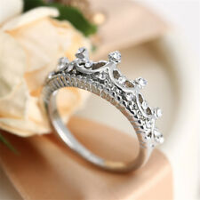 Hot Fashion Princess Women Rose Gold Silver Rhinestone Crown Ring Size 5 6 7 8 9