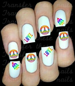 Autocollant stickers ongles baba cool hippie amour nail art manucure déco