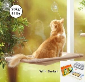 Pet Hanging Bed Cat Sunny Seat Wall Window Mount Hammock Seat Beds with Blanket