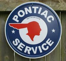 Pontiac Authorized Service Car Dealer Logo Round Retro Vintage Tin Sign - 12x12,