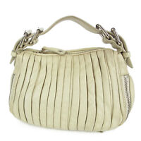 Auth MIU MIU Logos Gathered Leather Mini Hand Bag F/S 13863b