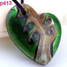 Handmade Baroque Heart Art Glass beaded Pendant Black Cord Necklace p0413
