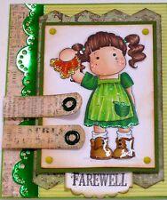 "MAGNOLIA TILDA  waving goodbye - ""FAREWELL"" - Handmade card- BY DEE"