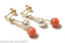 9ct Gold Pearl and Coral Ball drop Earrings Gift Boxed