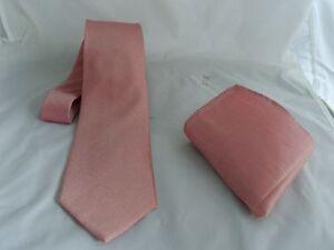 "Dusky Pink Mens Classic Tie and Hankie Set-3.3"" = 8cm Width - P&P 2UK >1st Class"