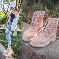 Women's Lace Up Bling Ankle Boots Sequin Shimmer Glitter Shoes Comfort Shoes