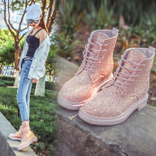 Women Bling Martin boots Sequin Shimmer Glitter Shoes Casual Comfort Lace Up