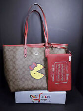 New Coach X Pac-Man Red Reversible City Tote Bag With MS. Pac Man