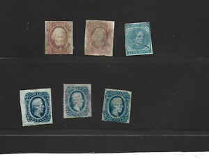 Confederate States half a dozen different stamps, shades etc (C319)