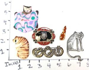 Vintage Signed Kitty Cat Brooch Pin Rhinestones Jewelry UNIQUE Lot