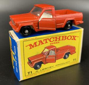 VINTAGE 1964 DIECAST MATCHBOX LESNEY #71 JEEP PICK UP TRUCK MINT BOXED