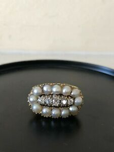 Stunning Antique 18k Gold, Old Cut Diamond and Pearl Cluster Ring size 6.25