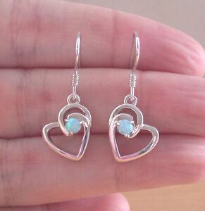 Blue Opal Heart Earrings/Sterling Silver Opal Earrings UK/Blue Opal Earrings UK