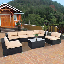 7 PCS Outdoor Patio Sofa Set Furniture Wicker Rattan Deck Couch W/Brown Cushion
