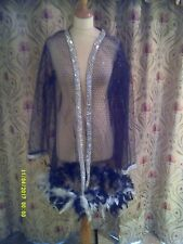 Drag Queen/Cabaret SHORT net black/sequin coat with black/white feathers 20/22